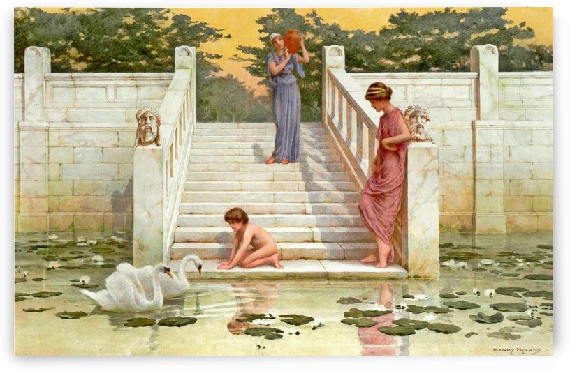 Scene with figures on the stairs near the fountain by Henry Ryland