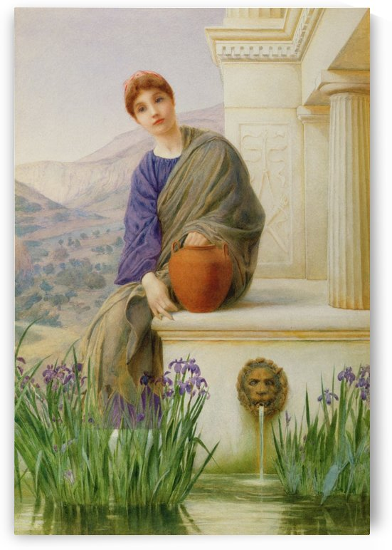 Beautiful maiden at the fountain by Henry Ryland