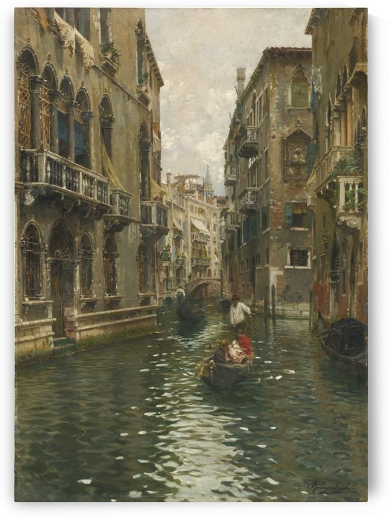 A family outing on a Venetian canal by Rubens Santoro
