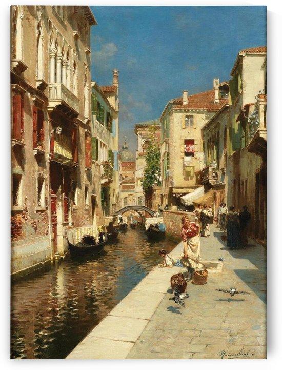 Mulheres ao lado de um canal veneziano by Rubens Santoro