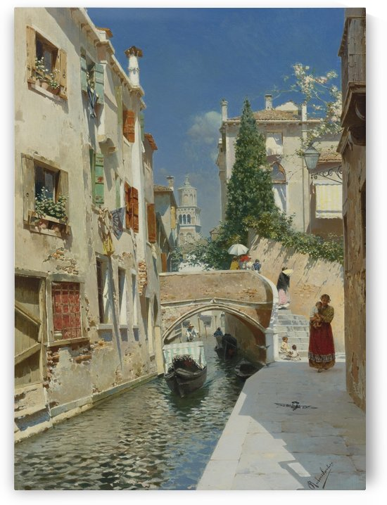 Venetian canal with the campanile of the Frari in the distance by Rubens Santoro