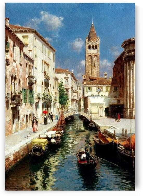 Along Venetian canal by Rubens Santoro