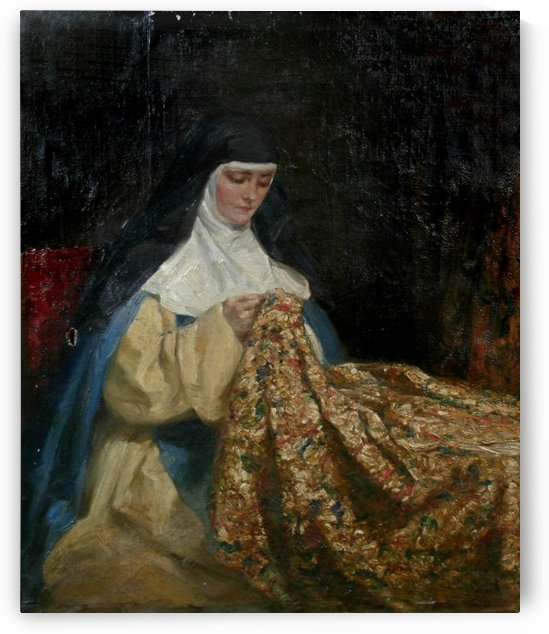 A nun embroidering fabric by Talbot Hughes