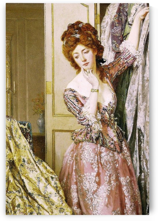 Beautiful lady in pink dress by Talbot Hughes