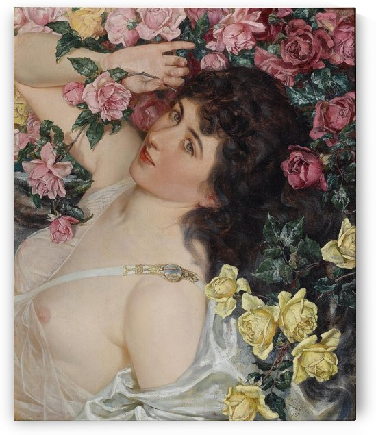 Among the roses by Talbot Hughes