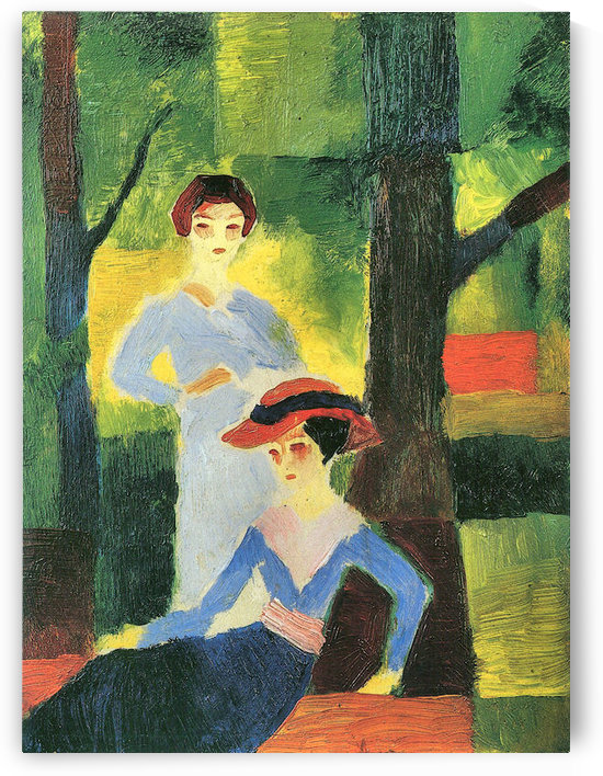 Two girls in the forest by August Macke by August Macke