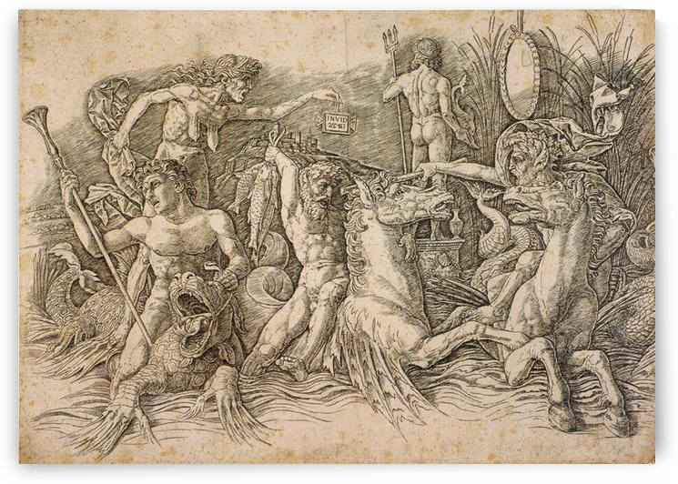 Battle of two sea monsters by Andrea Mantegna