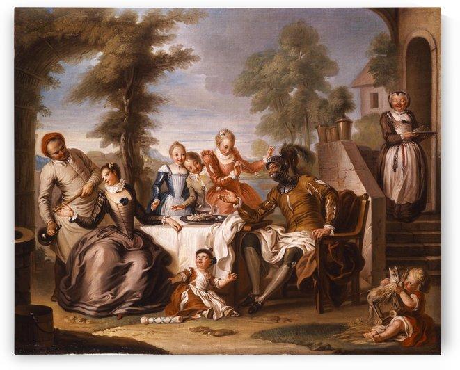 Don Quichotte servi par les filles de lhotellerie by Charles-Antoine Coypel