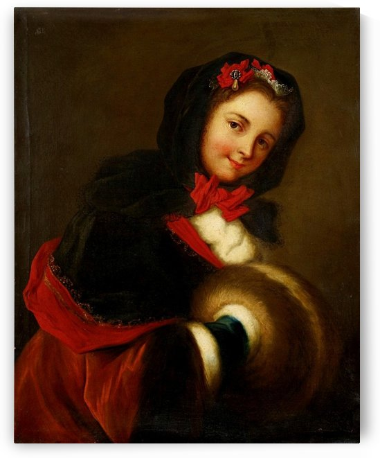 Junge Frau mit Muff, Allegorie des Winters by Charles-Antoine Coypel