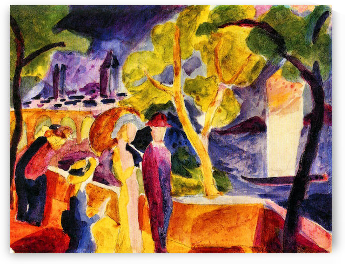Walking at the lake by August Macke by August Macke
