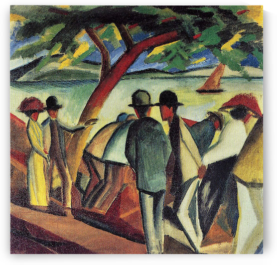 Walking at the lake I by August Macke by August Macke