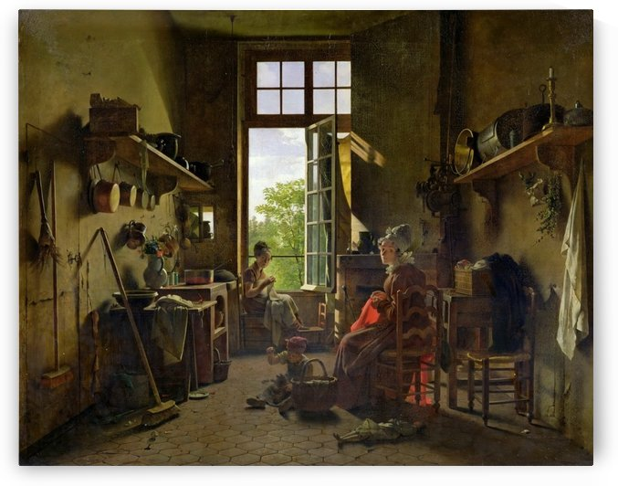 Interior of a kitchen by Martin Drolling