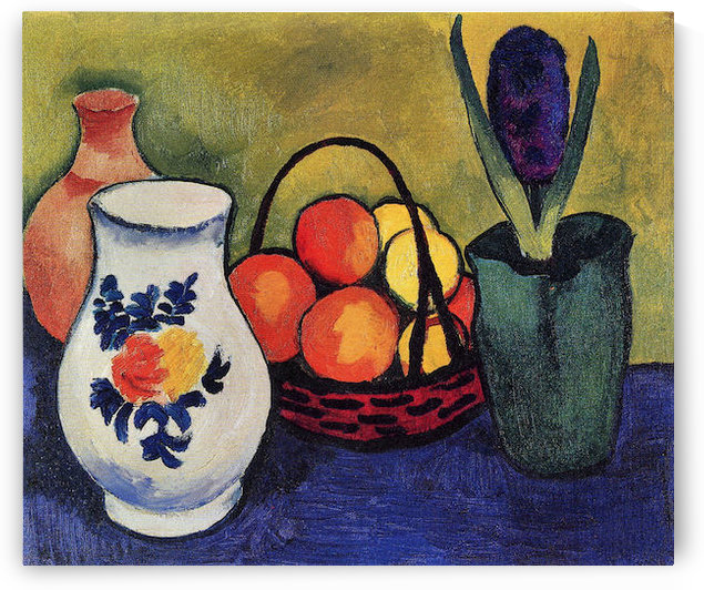 White jug with flowers and fruits by August Macke by August Macke