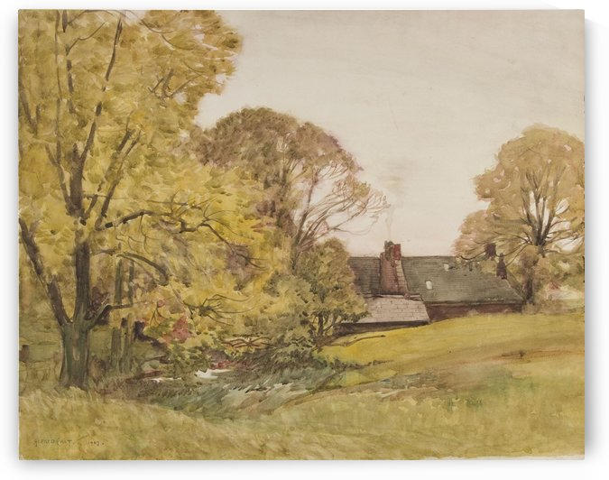 Landscape with house near river by Sir Alfred Edward East
