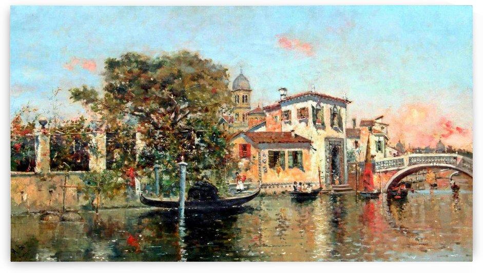 Entering main canal in Venice by Antonio Maria Reyna Manescau