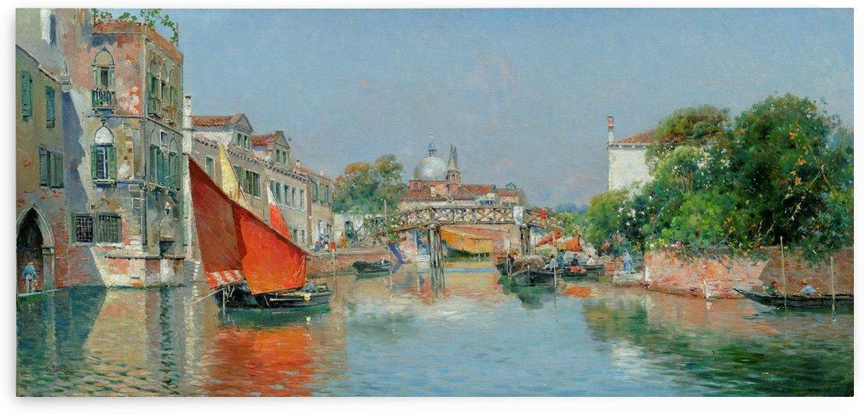 Boats along a Venetian canal by Antonio Maria Reyna Manescau