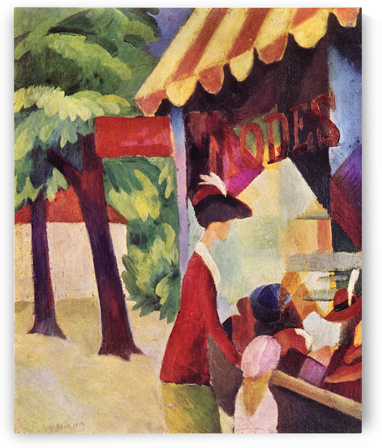 Woman with red jacket and child by August Macke by August Macke