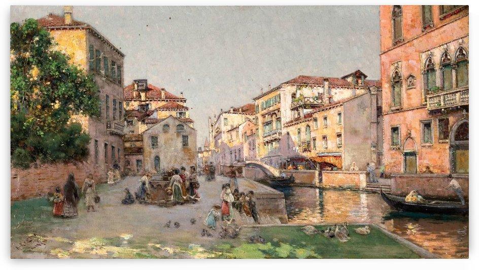 Venetian market with figures by Antonio Maria Reyna Manescau