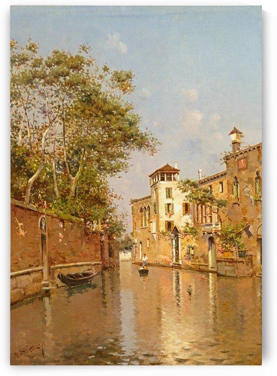 A quiet canal in Venice by Antonio Maria Reyna Manescau