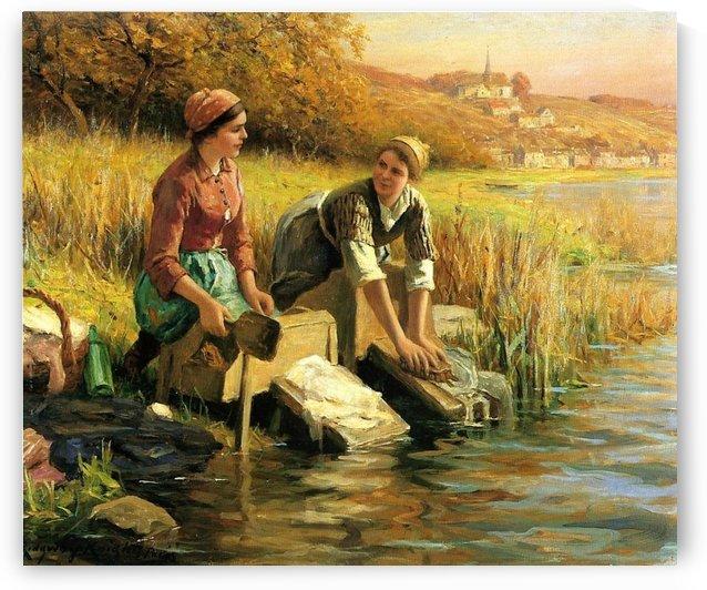 Women washing clothes by a stream by Daniel Ridgway Knight