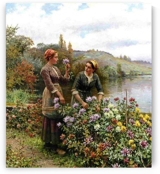 Peasant girls in flower garden by Daniel Ridgway Knight