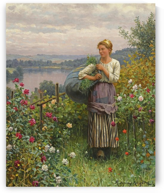 Girl in the garden by Daniel Ridgway Knight