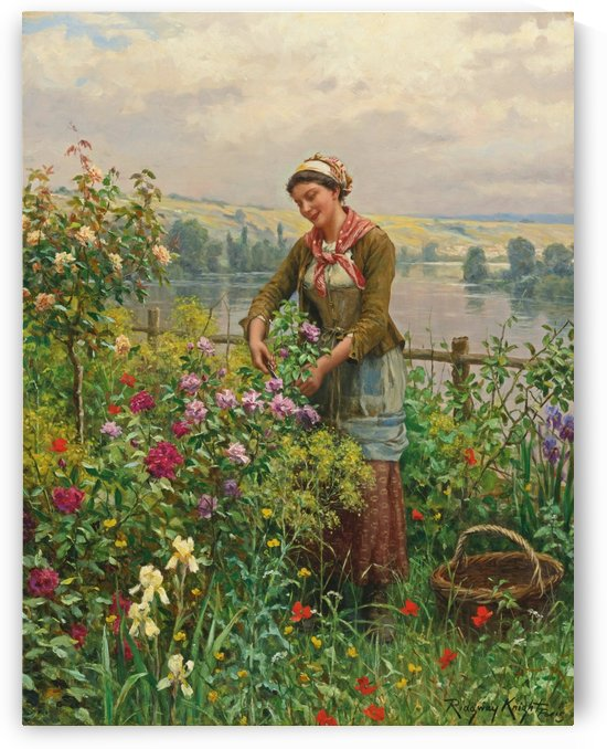 Woman cutting flowers in the garden by Daniel Ridgway Knight