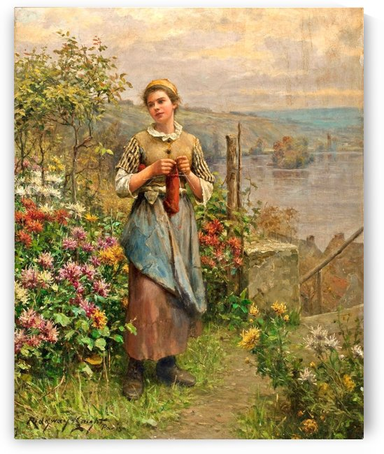 Woman knitting by Daniel Ridgway Knight