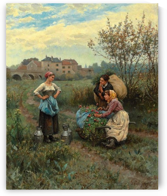 Three women in a landscape by Daniel Ridgway Knight