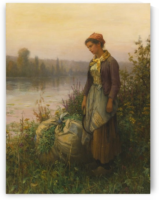 Woman on the stream by Daniel Ridgway Knight