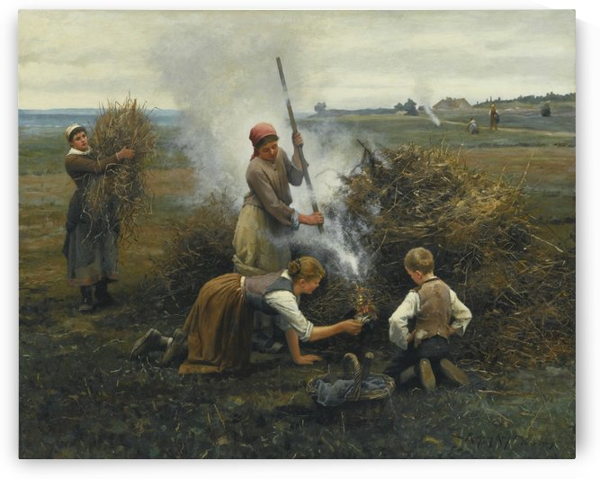 Burning brush by Daniel Ridgway Knight