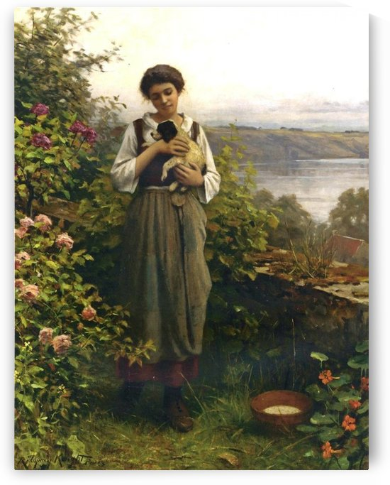 Young girl holding a puppy by Daniel Ridgway Knight