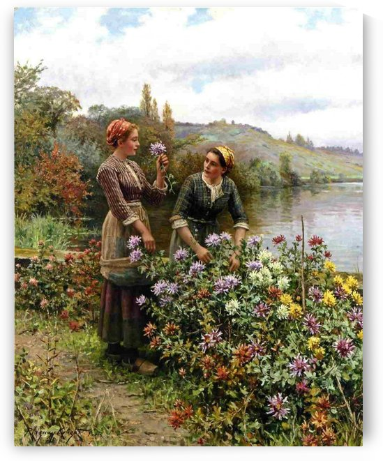 Two women cutting flowers in the garden by Daniel Ridgway Knight