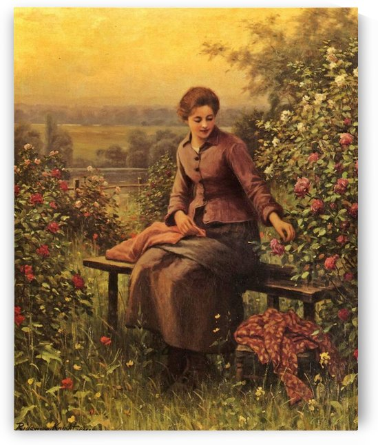 Seated girl with flowers by Daniel Ridgway Knight
