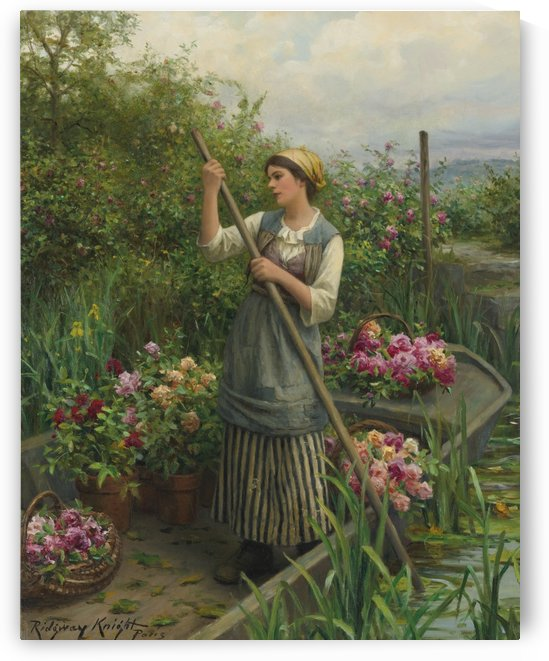 Gathering flowers along the river by Daniel Ridgway Knight