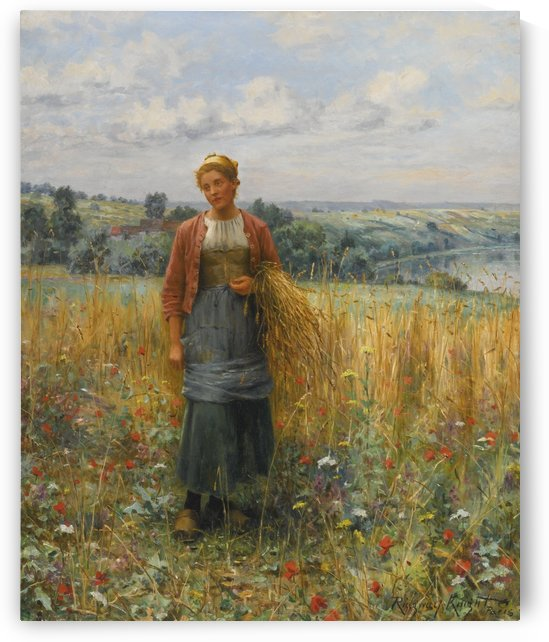 Jeannine Gleaning by Daniel Ridgway Knight