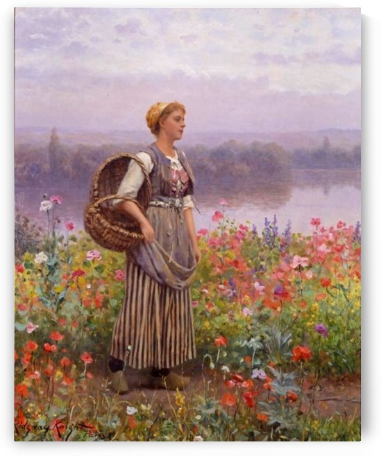 Girl with basket on the stream by Daniel Ridgway Knight