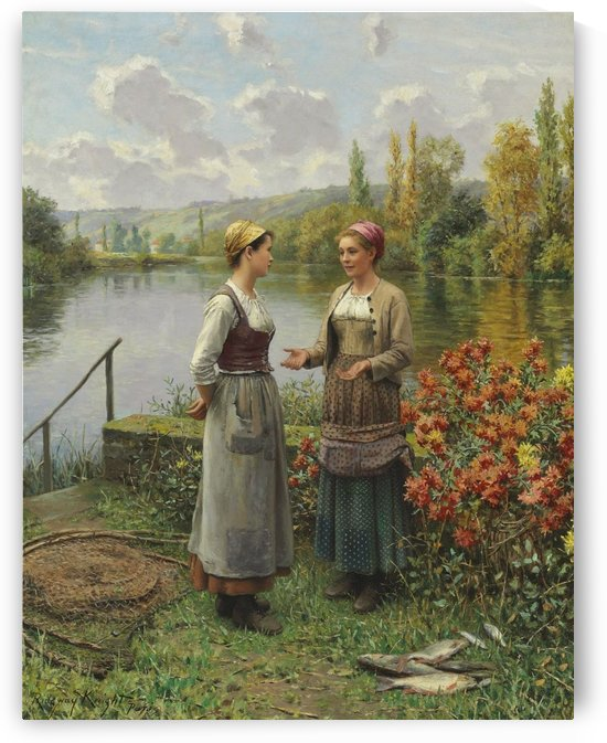 Two women in a landscape by Daniel Ridgway Knight