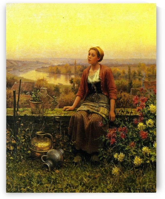 Marie on the terrace by Daniel Ridgway Knight