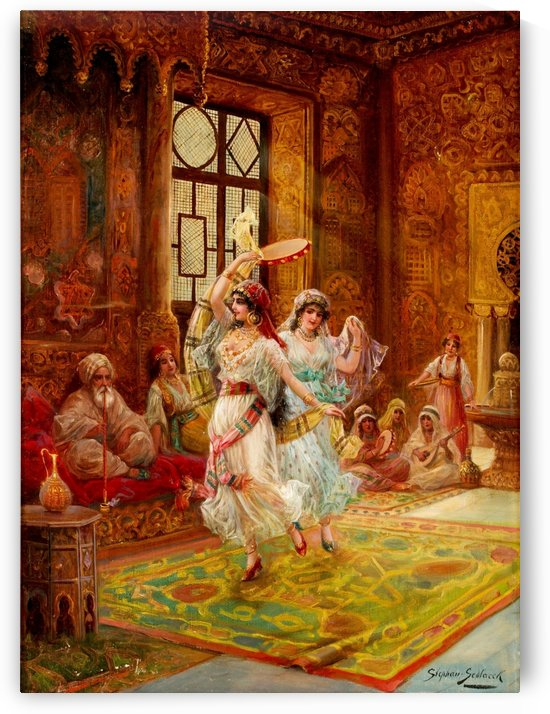 Harem interior with dancing women by Stephan Sedlacek