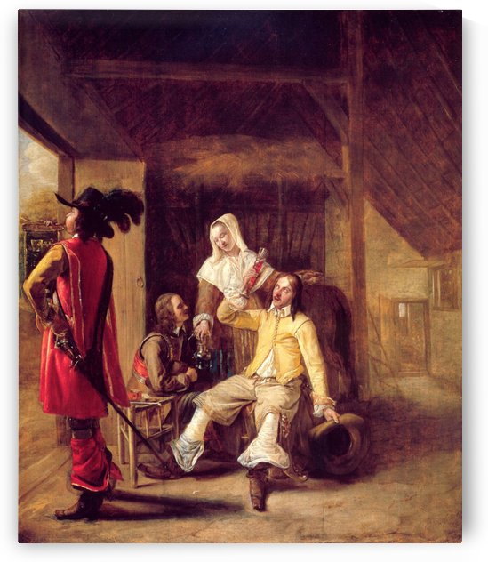 Two soldiers and a serving woman with a trumpeter by Pieter de Hooch