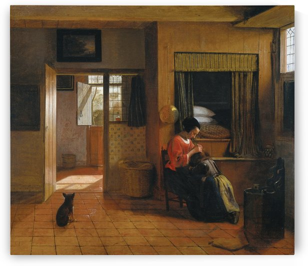 Interior with a mother delousing her child by Pieter de Hooch