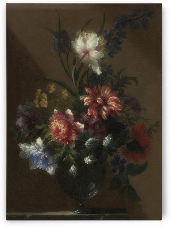 Bouquet of flowers in a glass vase by Jean Baptiste Monnoyer