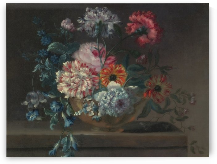 Still life of variegated carnations and other flowers on a ledge by Jean Baptiste Monnoyer