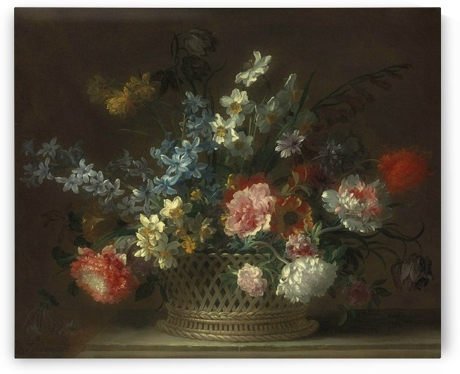 Roses, daffodils, hyacinths, anemones, fritillaries and other flowers in a woven basket by Jean Baptiste Monnoyer