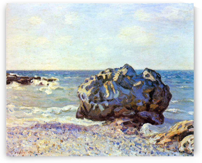 Bay of long-country with rock by Sisley by Sisley