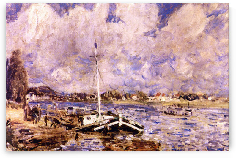Boats on the Seine by Renoir by Renoir