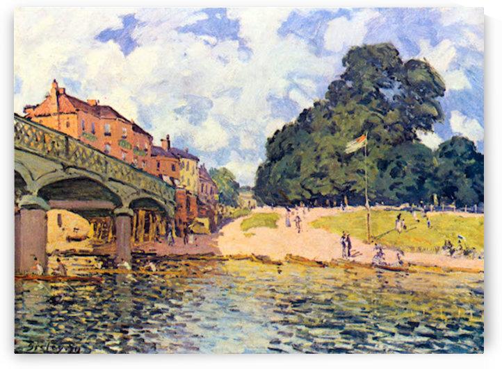 Bridge on Hampton Court by Sisley by Sisley
