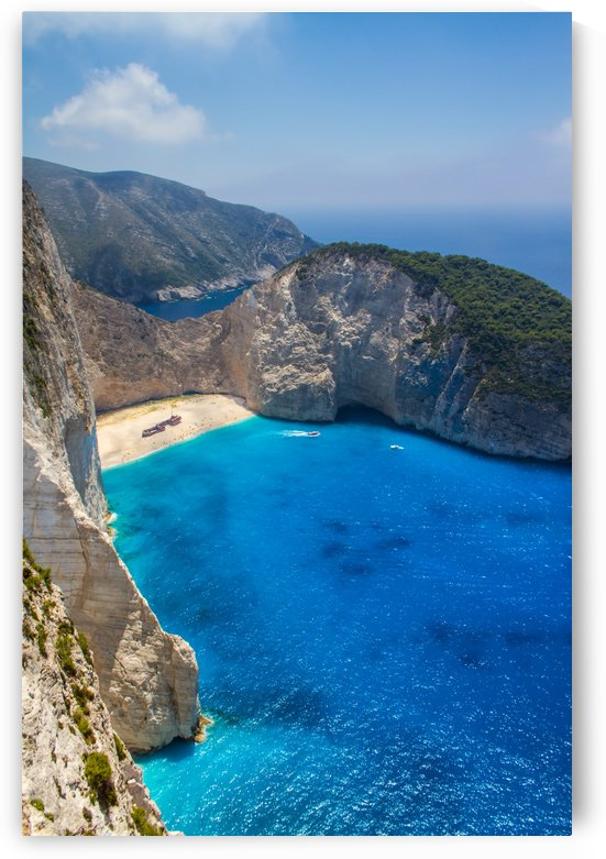 Navagio beach with shipwreck and flowers on Zakynthos island in Greece by Levente Bodo