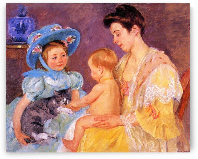 Children Playing with a Cat by Mary Cassatt by Cassatt
